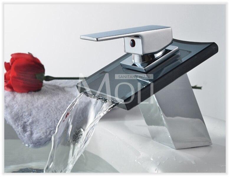 Robinets de bassin robinet en Bronze moderne salle de bain évier cascade robinets mitigeur noir mitigeur en verre bec ML8102B - 4
