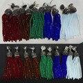Оригинальный ручной богемия провода красный зеленый синий коричневый бусы длинные кисточкой падение мотаться черный разъем горный хрусталь серьги для женщин