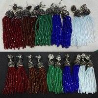Original Handmade Bohemian Red Green Blue Brown Beads Long Tassel Drop Dangle Rhinestone Connector Stud Earrings