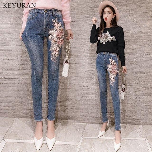 fc05be2bff Spirng otoño mezclilla pantalones conjuntos dulce bordado 3D flor tejer  Tops + Slim lápiz Jean Femme