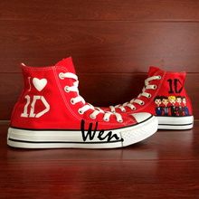 Wen Women Men's Hand Painted Shoes Design Custom One Direction Red High Top Canvas Sneakers for Birthday Gifts