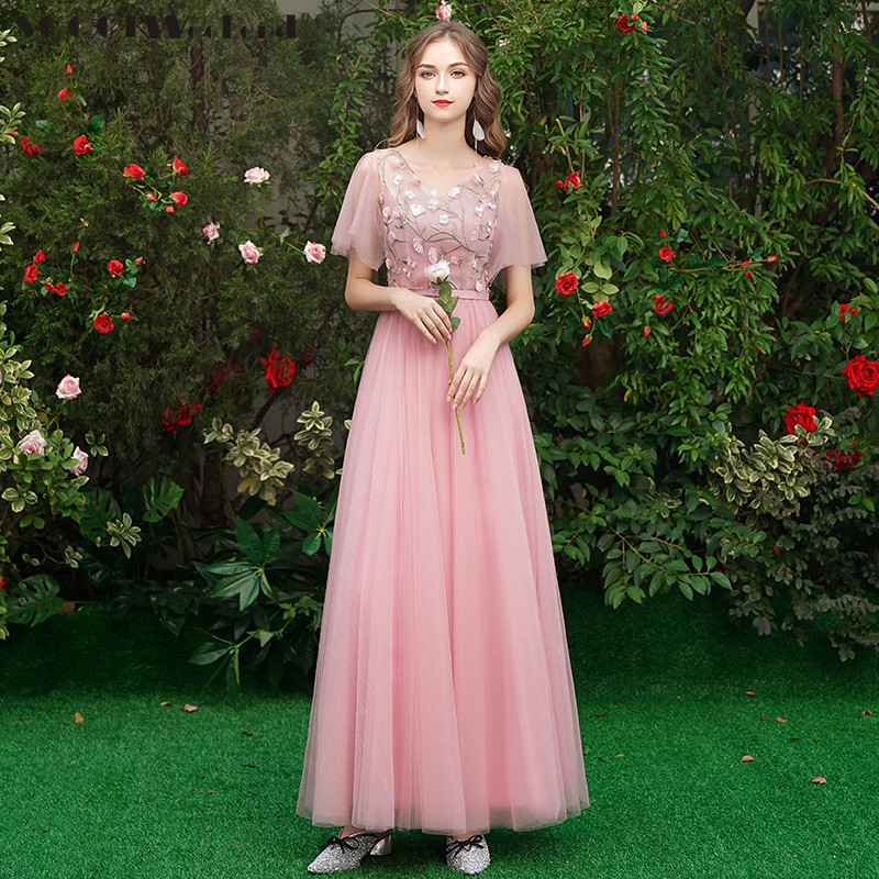 Pink Bridesmaid Dress for Wedding Party Women Tulle Embroidery Flowers Vestido Largo Sirena V neck A Line Bridesmaids Dresses