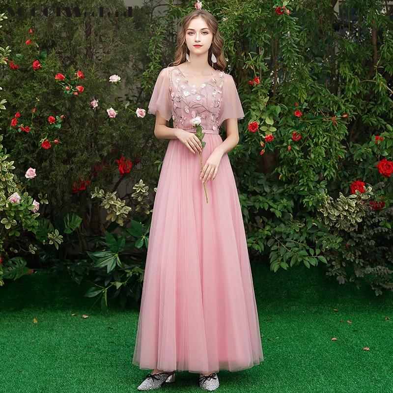 Robe de demoiselle d'honneur rose pour la fête de mariage femmes Tulle broderie fleurs Vestido Largo Sirena v-cou a-ligne robes de demoiselles d'honneur