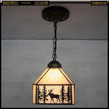 American village Stained Glass Suspended Luminaire 110-240V Chain Pendant light restaurant bar corridor bedroom decorative