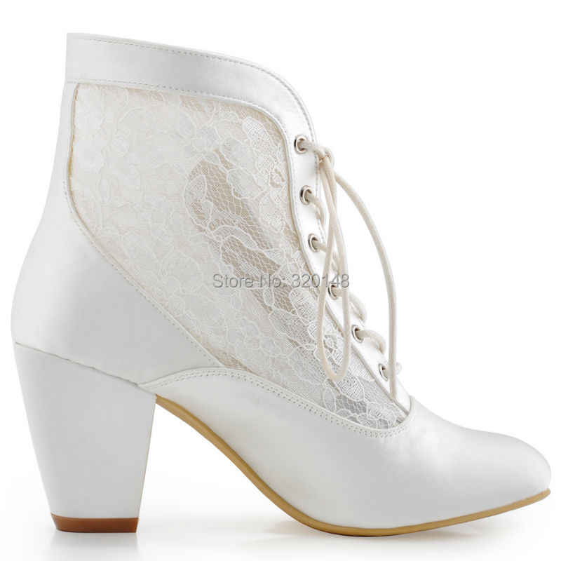 a7ed85d25 ... Women ankle Boots Wedding Bridal Shoes Chunky High Heel Lace up Satin  Bride Bridesmaid Ladies Evening ...