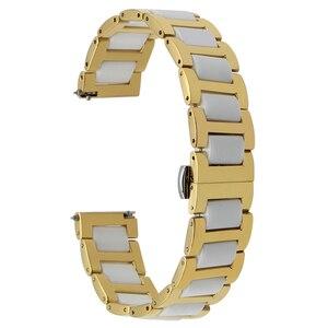 Image 4 - Ремешок из керамики и нержавеющей стали для наручных часов, быстросъемный браслет с пряжкой бабочкой Жак Лемана, 12 14 16 18 20 22 мм