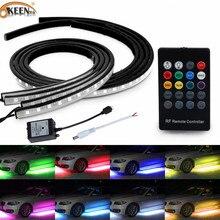 OKEEN под свет автомобиля полоски светодиодный underglow 5050 светодиодный звук Управление 4x шт RGB Flash полосы автомобиль-Стайлинг днища системы удаленного 12 В
