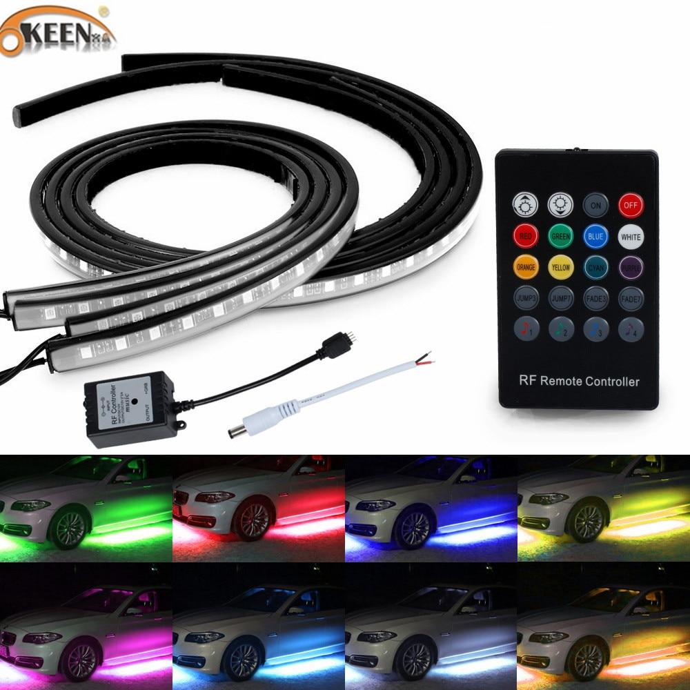 OKEEN under car light strips led underglow 5050 LED Sound Control 4x PCS RGB Flash Strip Car styling Underbody System Remote 12V