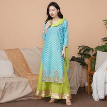 New India Fashion Woman Ethnic Styles Set  Cotton Dress Thin Costume Elegent Lady Blue Long Top+Skirt+Scarf