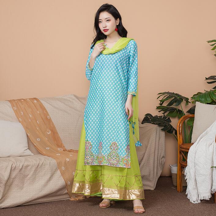 Nouveau inde mode femme Styles ethniques ensemble coton inde robe mince Costume élégant dame bleu Long haut + jupe + écharpe