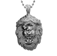 2016 high quality micro pave cz iced out mens jewelry,cool lion head Yellow yellow gold bling mens necklace