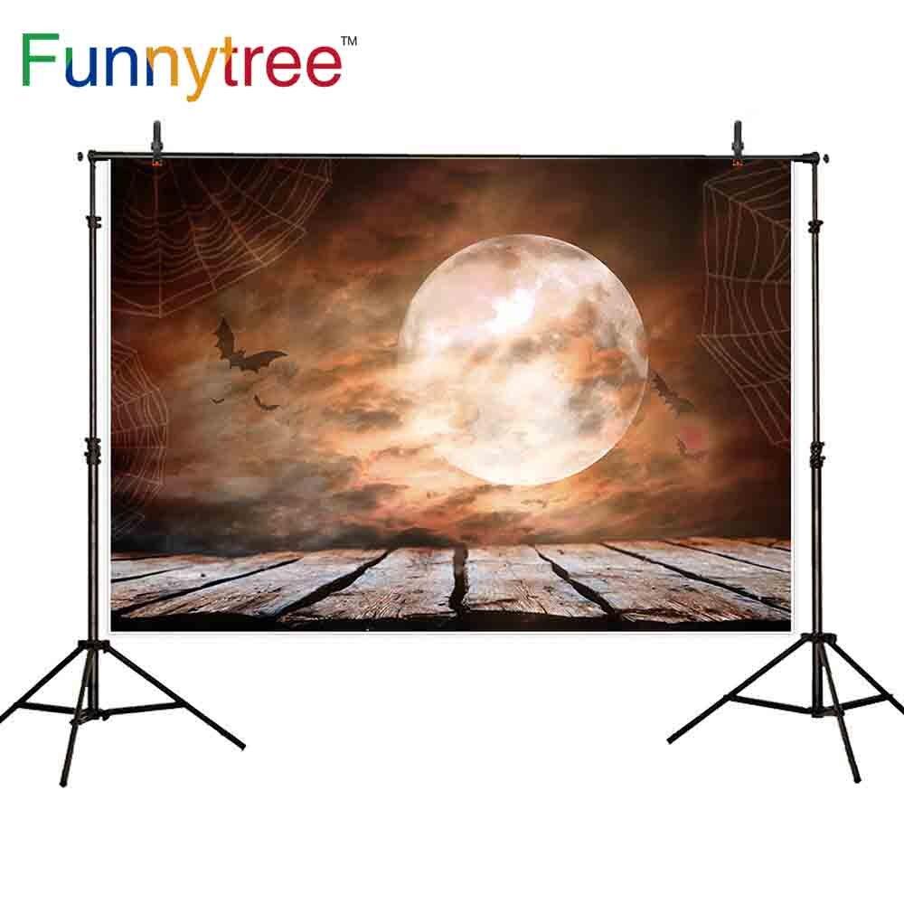 Фотофон Funnytree на Хэллоуин страшный узор полная луна паутина сумерки винтажные