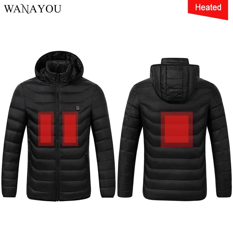 Men Women Heated Jackets Waterproof Winter Fleece Warm Jackets Black Red Clothes Windproof Ski Hiking Jackets
