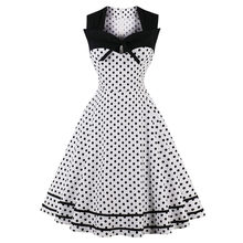 Wanita Polka Dot Dicetak 50 S Rockabilly Dress Audrey Hepburn Gaya Menyala Vintage Pin Up Gothic Pesta Tari Ayunan Gaun vestidos(China)