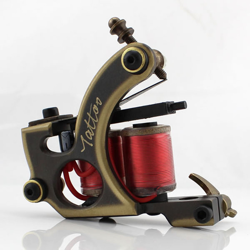 2PCS/Set Liner&Shader Handmade Wire Cutting Copper Permanent Machine Tattoo Machine 12 Wraps Coil for Tattoo Gun free shipping top quality customs handmade tattoo machine kit 10 wraps coil zinc alloy machine for liner and shader free shipping tm 1114