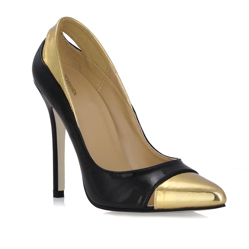 Noir Bureau Haute Pointu Femmes Stilettos Slip Partie De Pompes Talons Or On Pompe Bout Chaussures Dames qqTrURxH