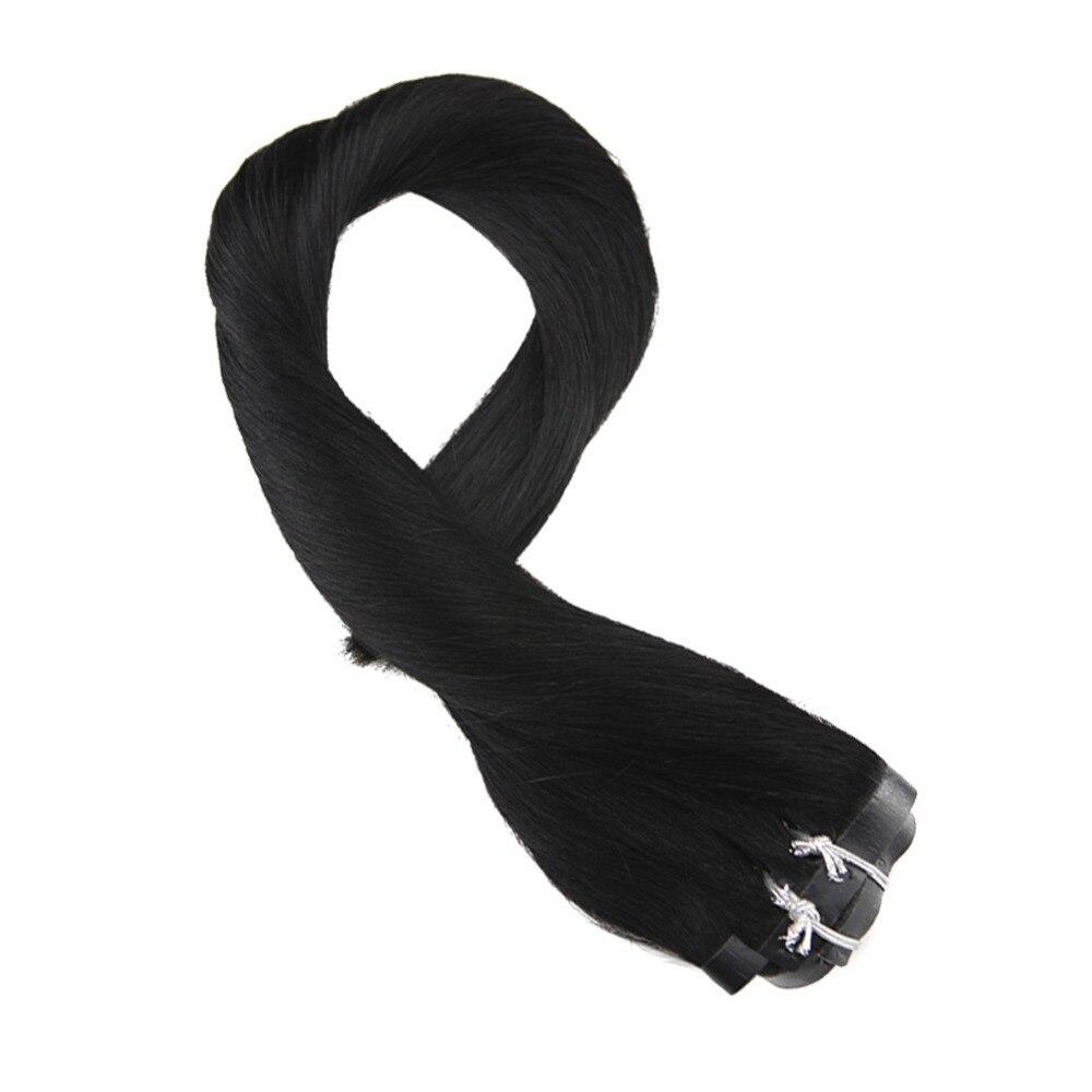 Moresoo Off Black #1 PU Clip In Human Hair Extension Seamless Clip In Hair Extension Remy Brazilian Hair 7PCS 100G Full Head Set
