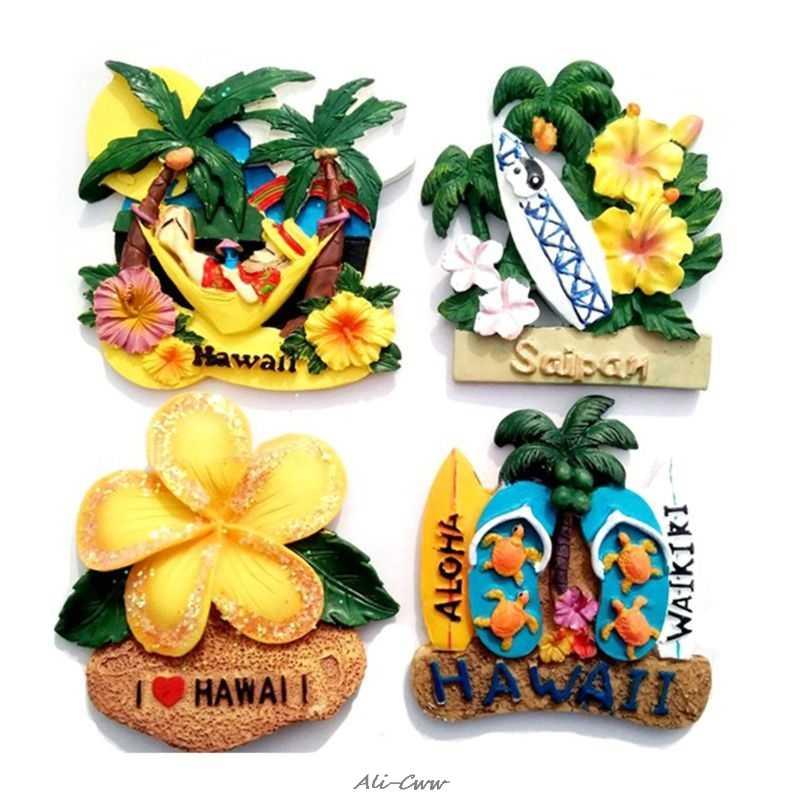 3D Magnet Fridge Sticker Kitchen Refrigerator Wall Flower Hawaiian pattern