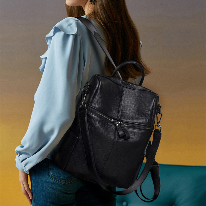 Convertible Genuine Leather Backpack Purse for Women Fashion Travel Bag 1