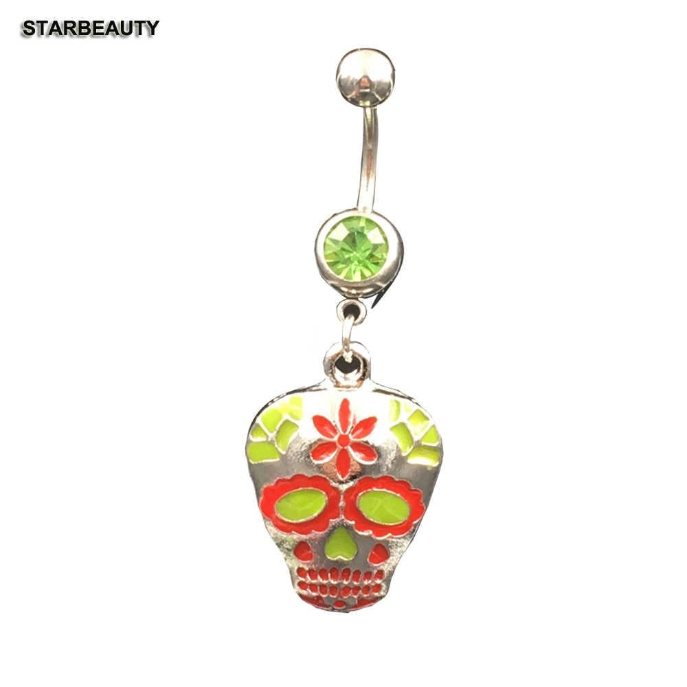 Starbeauty Lotus Skull Navel Piercing Ombligo เซ็กซี่สีเขียวคริสตัลแหวน Belly แหวน Body Piercing Nombril 16G แหวนเครื่องประดับ