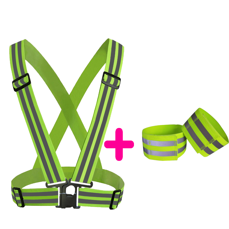 High Visibility Running Gear Strap Reflective Vest  For Cycling Running Night Walking