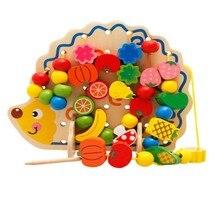 82 шт. деревянные фрукты овощи шнуровка нанизывающие бусины игрушечные лошадки с ежиком доска Монтессори Развивающие игрушки для детей подарок