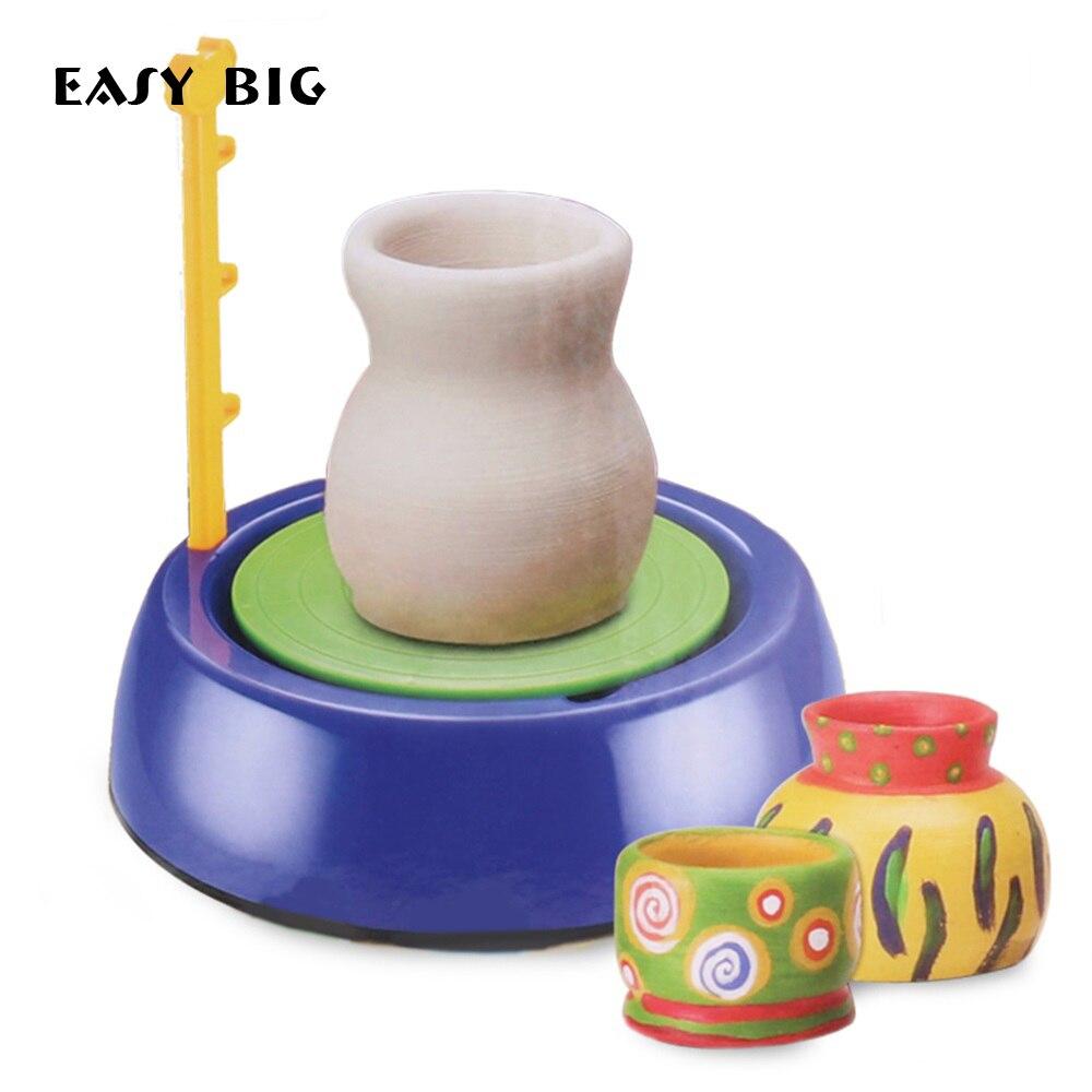 FACILE GRAND Enfants bricolage argile à modeler Outils Électrique Rotatif À La Main En Céramique Machines Jouets Avec argile kaolin Pigment TH0030