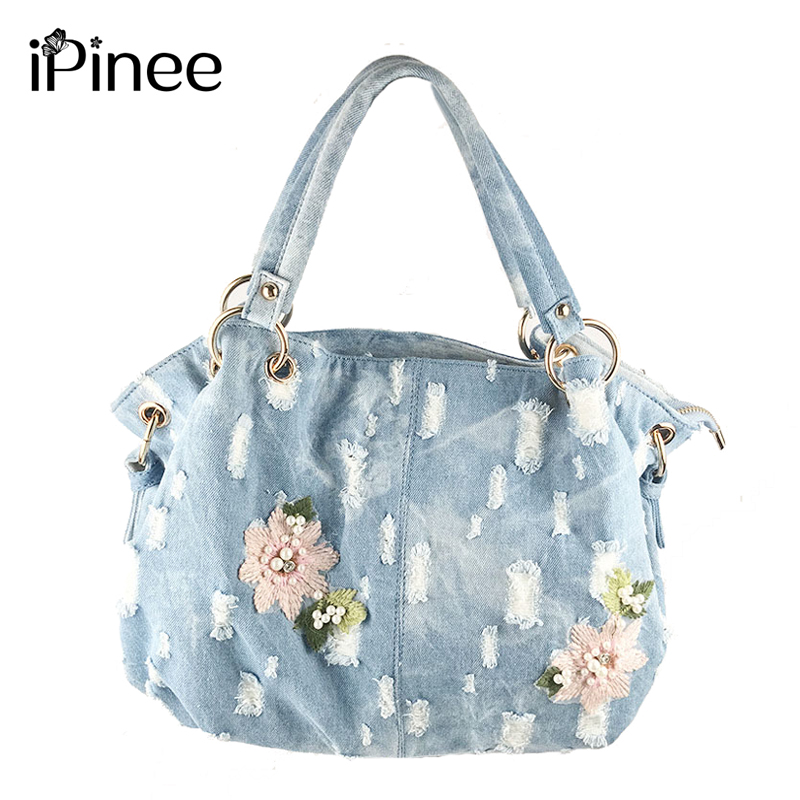 iPinee Denim Women Bag Luxury Messenger Bags Female Designer Embroidery Flower Handbags High Quality Famous Brands