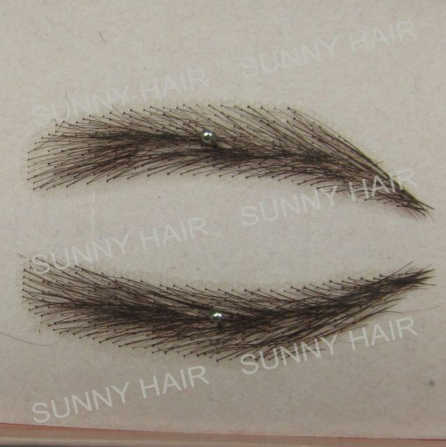 EB014 invisible swiss lace relastic hand made human hair false eyebrow black 1B color 3