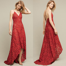 Poshcoco Elegant 2018 Spring Summer Women's Long Dress Sexy Boho Lace Flower Hollow Out Zipper V-Neck Dress