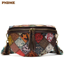 PNDME fashion vintage designer stitching embossed genuine leather ladies shoulder bag cowhide flower womens messenger bags