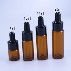 Image 4 - 50 pçs/lote 5 ml ml 15 10 ml 20 ml Âmbar Garrafa Frascos Conta gotas Com Pipeta de Vidro Para Cosméticos garrafas de Óleo Essencial Perfume