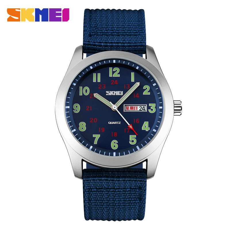 SKMEI Sport Watches Men Luxury Brand Nylon Strap Men Army Military Wristwatches Clock Male Quartz Watch Relogio Masculino 2017 watches men luxury sbao brand silicone strap men sport waterpoof wristwatches clock male quartz 7 colors watch relogio masculino
