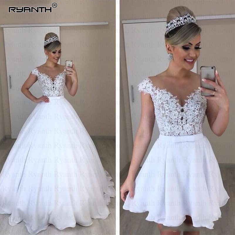 Ryanth 2 En 1 Detachable Skirt Wedding Dress 2019 Ball