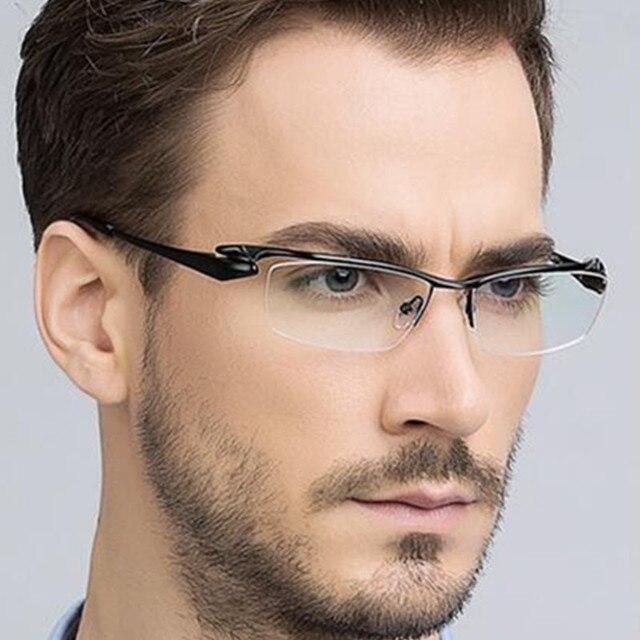 9d0544be709 SUPER LUXURY PURE TITANIUM Black Half Rimless Eyeglass Frames Men Women  Glasses Myopia Spectacles Rx able Eyewear TOP QUALITY
