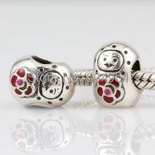 1 unids/lote Babushka doll charm auténtica plata de ley 925 beads fit europeo pulseras de la joyería