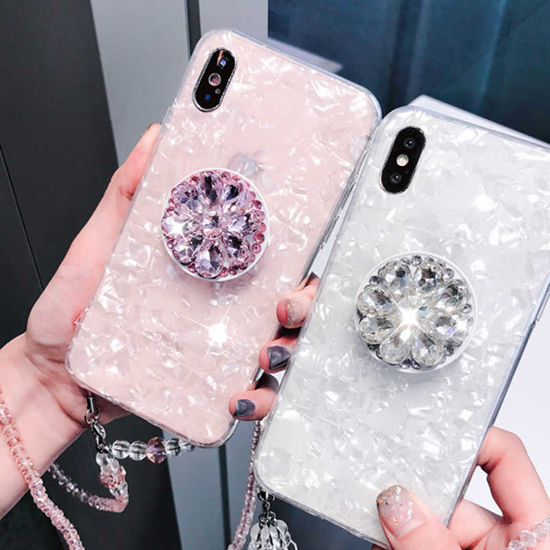 Luxury silicon cover case 3D Diamond drill ring for iphone S 6 7 8 plus X XR XS MAX for Samsung galaxy S7 edge S8 S9 Note 9 capa