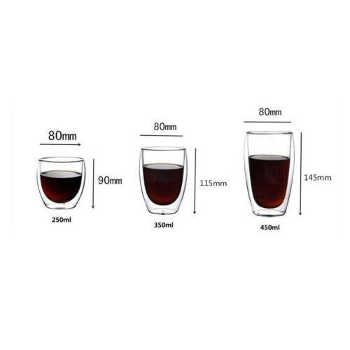 Tasse à Double paroi de 150-450ml | Tasse à café en verre, tasse isolée, tasse à expresso, vin et bière