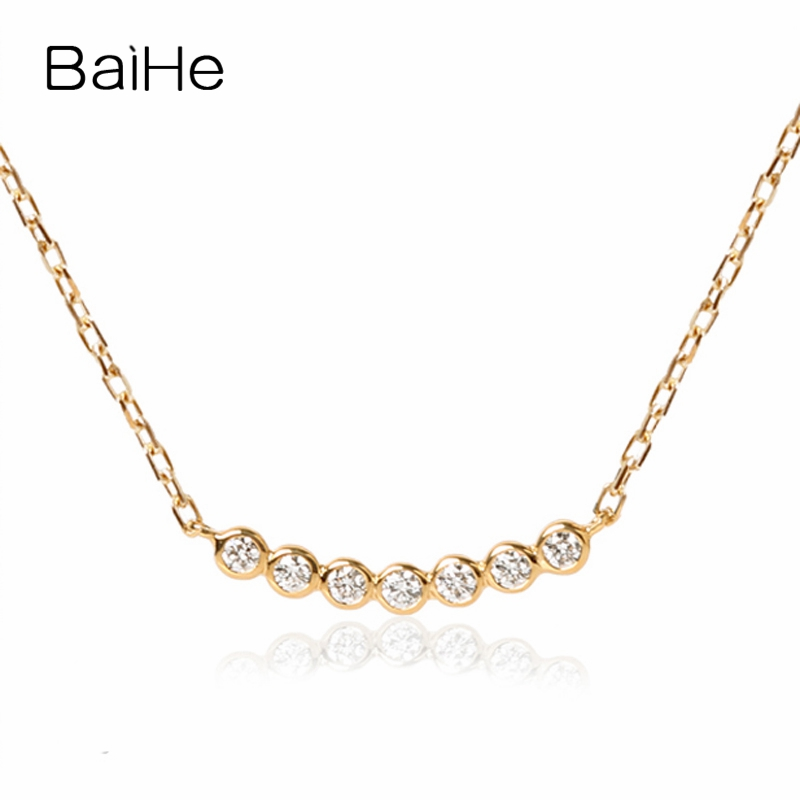 BAIHE Solid 18K Yellow Gold 0.01-0.13ct Certified H/SI Genuine Natural Diamonds Engagement Women Trendy Fine Jewelry Necklaces baihe solid 18k yellow gold au750 engagement