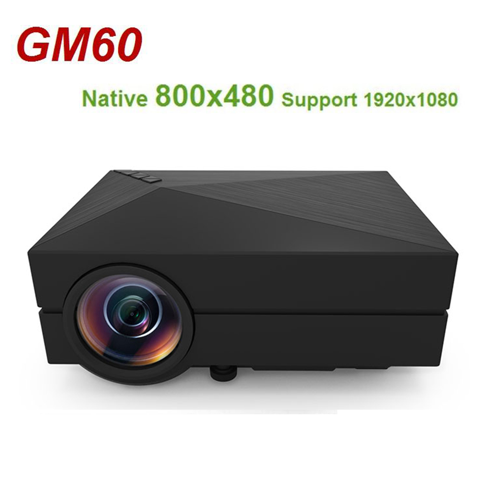 GM60 Hand-held mini LCD projector Native 800x480 MAX 1920x1080 Support HDMI Multichip Coated lens 1000 lumens