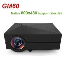 Портативный Миниатюрный ЖК проектор gm60 800x480 макс 1920x1080