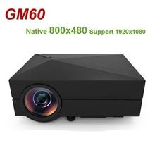 GM60 มือถือมินิโปรเจคเตอร์ LCD 800x480 MAX 1920x1080 สนับสนุน HDMI Multichip Coated เลนส์ 1000 lumens