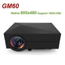 Gm60 mini projetor lcd native 800x480 max, 1920x1080, suporte hdmi, lente revestida, multichip 1000 lúmens