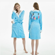 Adults Animal Flannel Bath Robe Womens Plush Sashes Bathrobe Nightgown Winter Unicorn Pajamas Nightie Female