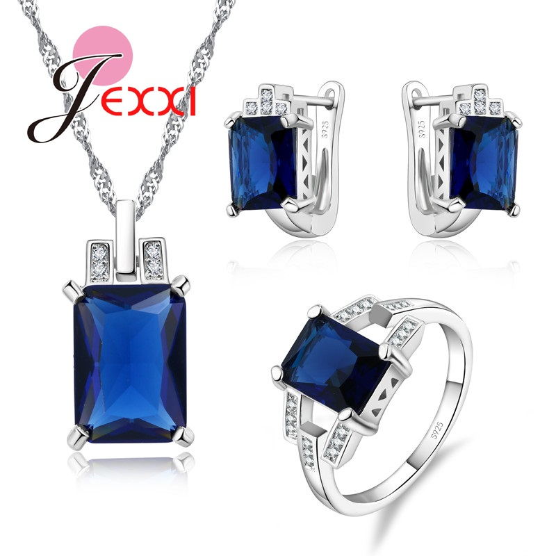 Giemi Solid 925 Sterling Silver Jewelry Sets Accessory Fashion Blue CZ Pendant Necklace Ring Set For Brides Jewellery ...