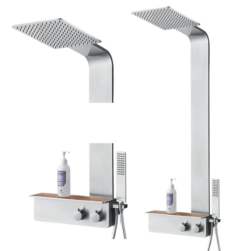Bathroom Shower Set Thermostatic Shower Panel Stainless Steel Column Mixer Tap Faucet With Soaf Shelf SUS304 Rainfall Shower luxury temperature control thermostatic shower faucet set wall mount 8 rainfall shower set mixer tap