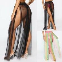 Hot Women Sheer Chiffon Maxi Skirt Side Slit Beach Swimsuit Cover up Dance Dress цена 2017