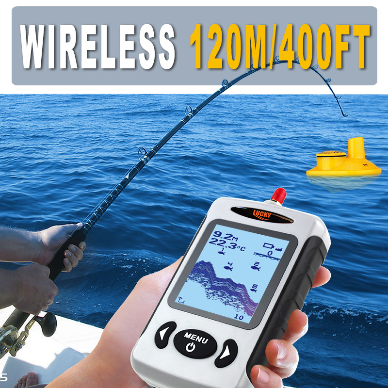 LUCKY Wireless Fish Finders Alarm Echo Sounder for Fishing in Russian Portable 45m Depth Sounder with LCD Display FFW718 lucky ff1108 1c portable 2 in 1 wireless