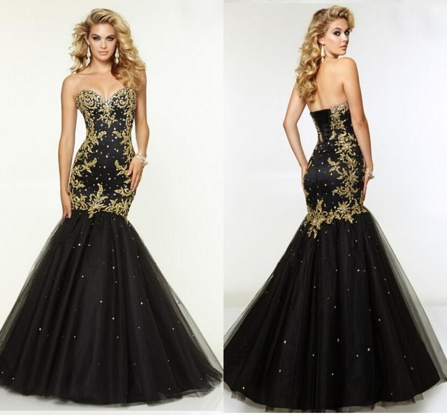 Fashionable Gold Embroidery Black New Arrival Sheer Trumpet Prom