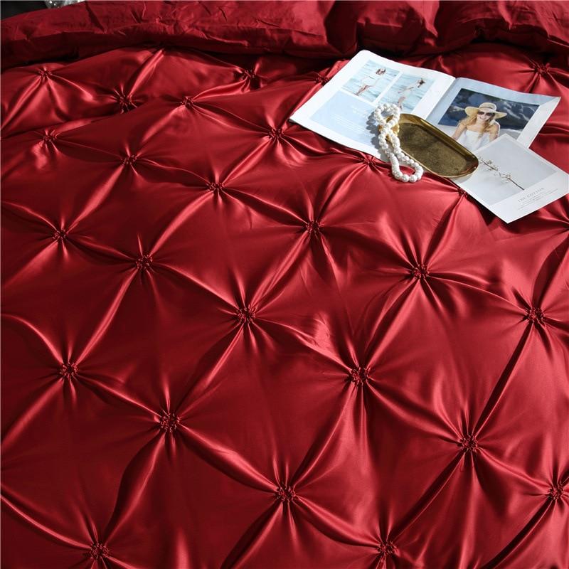 Image 3 - LOVINSUNSHINE Luxury Duvet Cover Bedding Set Queen Bed Quilt Covers Bed Linen Linen Silk AN04#-in Bedding Sets from Home & Garden